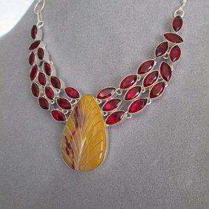 Mookaite Jasper Lavaliere Necklace Garnet Collar